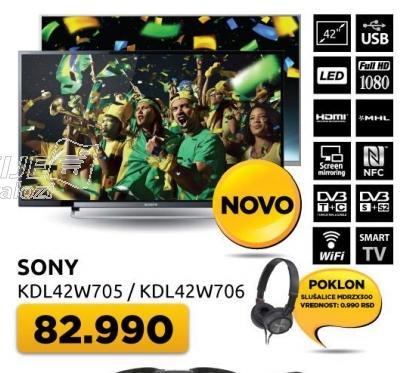 "Televizor LED 42"" Kdl-42w706 + poklon slušalice Mdrzx300"