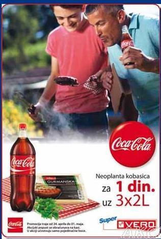 Neoplanta kobasica za 1 dinar uz kupovinu 3x2l Coca Cola soka