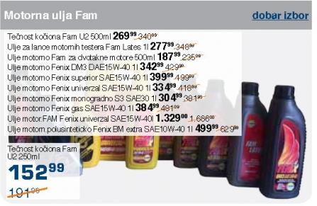 Motorna ulja - ulje za lance motorornih testera Fam lates