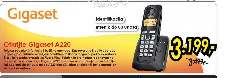 Bežični telefon A220 BLACK