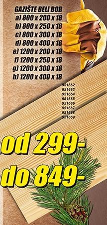 Gazište Beli Bor 1200x400x18