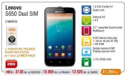 Mobilni telefon S650 DualSim