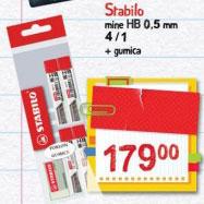 Stabilo mine HB 0.5mm 4/1 + gumica