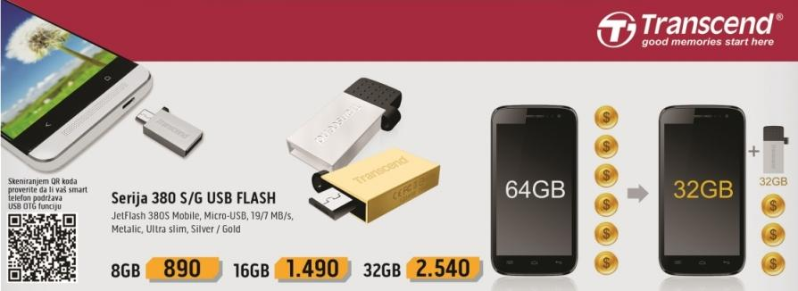 Micro-USB fleš memorija 380S/G 32 GB