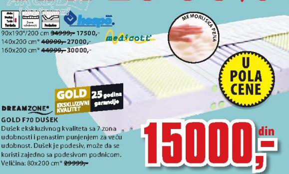 Dušek Gold F70, 140x200cm