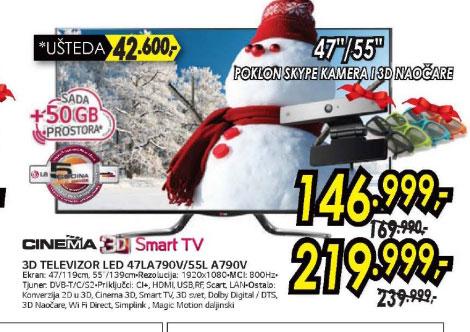 3D televizor LED LCD 55LA790V+Poklon: 50GB prostora za skladištenje u Cloud-u