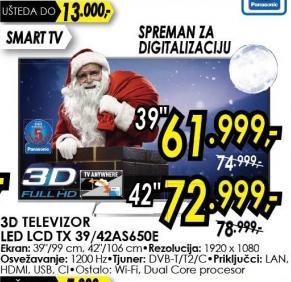 """Televizor LED 42"""" 3D Tx 42as650e"""
