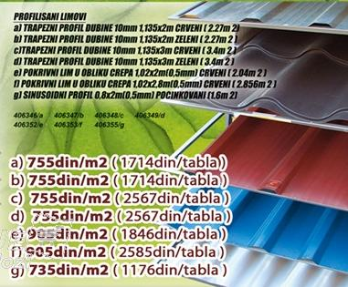 Profilisani lim Zeleni 1,135x2m