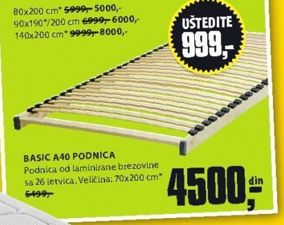 Podnica Basic A40 70x200