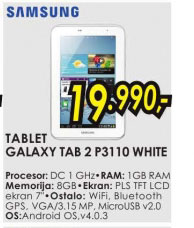 Tablet Galaxy Tab 2 P5110 WHITE