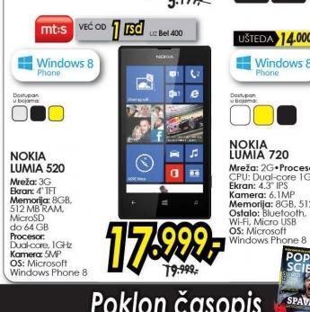Mobilni telefon LUMIA 520 BK