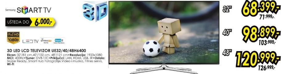 """Televizor LED 48"""" 3D Ue48h6400"""