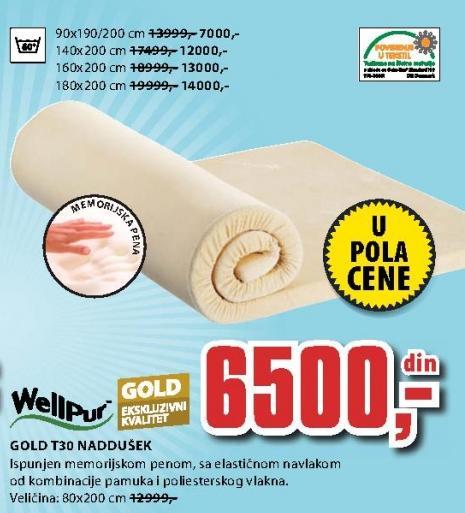Naddušek Gold T30 80x200 cm