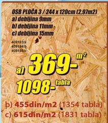 OSB ploča 9mm
