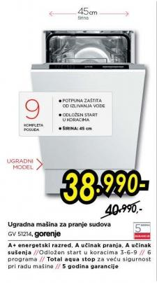 Ugradna mašina za pranje sudova Gv 51214