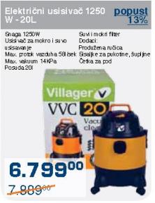 Električni usisivač 1250 W - 20l