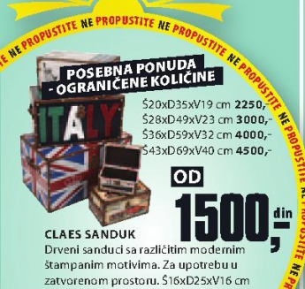 Sanduk Cleas, 36x59x32