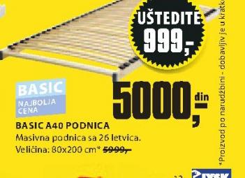 Podnica Basic A40, 90x190/200cm