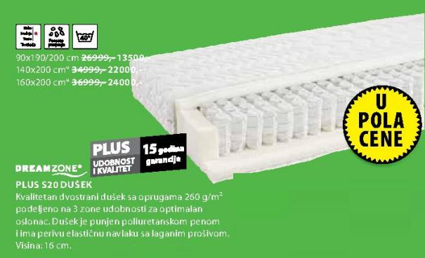 Dušek Plus S20, 90x190/200cm