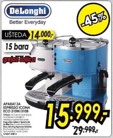 Aparat za espresso Icona Eco 310w/310b