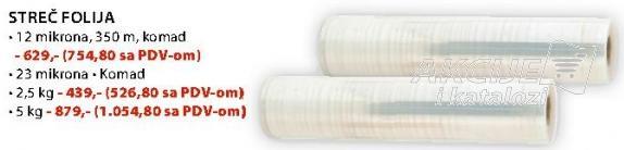 Streč folija 23 mikrona 2,5 kg