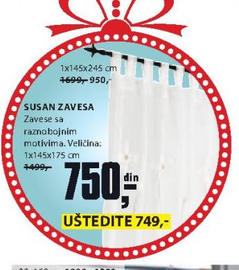 Zavesa Susan, 145x175