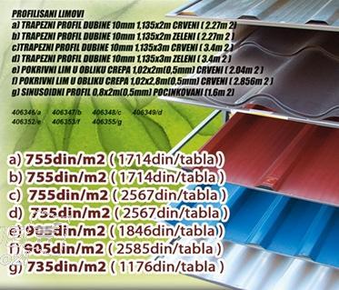 Pokrivni lim  u obliku crepa Crveni 1,02x2.8m