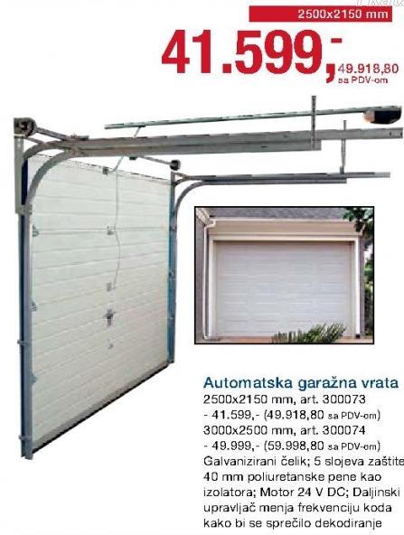 Automatska garažna vrata 3000x2500mm