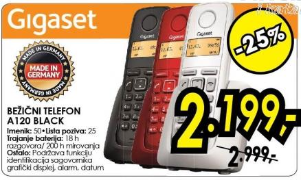 Bežični telefon A120 black Gigaset