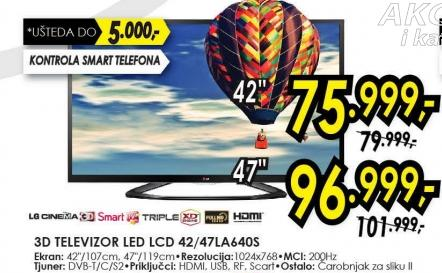"""Televizor LED 47"""" 3D 47la640s"""