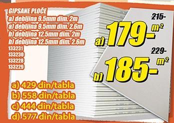 Gipsane ploče 9,5mmx2,6m