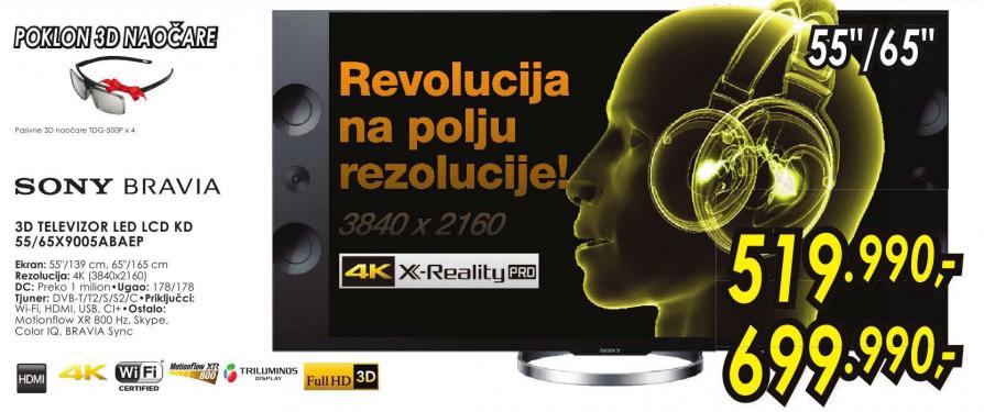 Televizor 3D LED LCD KD-65X9005ABAEP