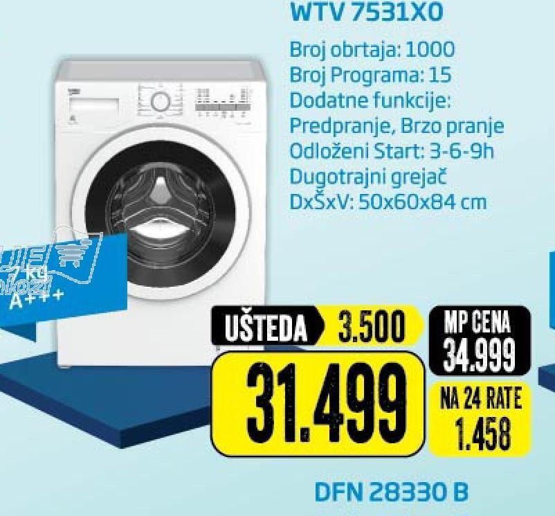 Mašina za pranje WTV 7531X0