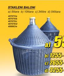 Stakleni balon, 34l