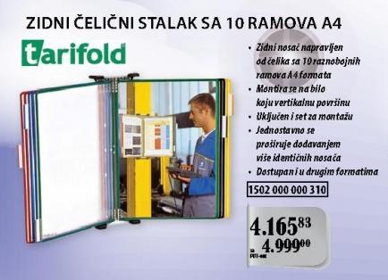 Zidni čelični stalak sa 10 ramova A4 Tarifold