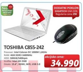 Laptop Satellite C855-242 + poklon Gigatech GM220L miš