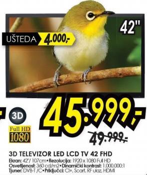 """Televizor LED 42"""" 3D Tv 42 Fhd"""