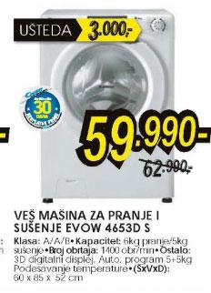 Mašina za pranje i sušenje veša EVOW 4653D S+Poklon: Candy 30 dana besplatne probe