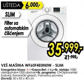 Mašina za pranje veša WF60F4E0N0W Slim