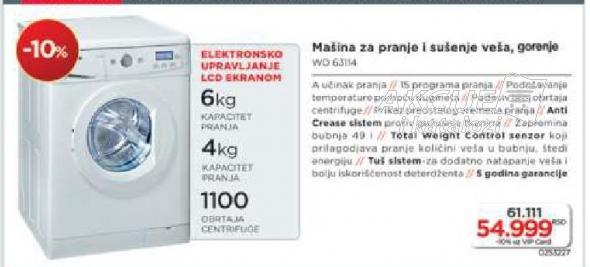 Mašina Za Pranje I Sušenje Veša WD 63134