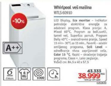 Mašina Za Pranje Veša,Wtls 60910