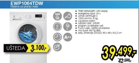 Mašina za pranje veša EWP1064TDW