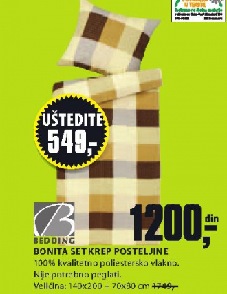 Set krep posteljilne Bonita, 140x220