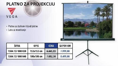Platno za projekciju 153x153cm