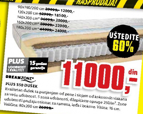 Dušek, Plus S50 90x190/200 cm