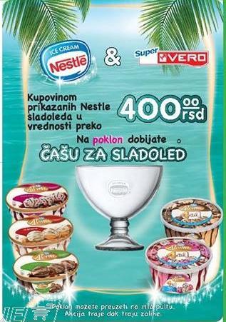 Kupovinom odabranih Nestle sladoleda poklon čaša za sladoled
