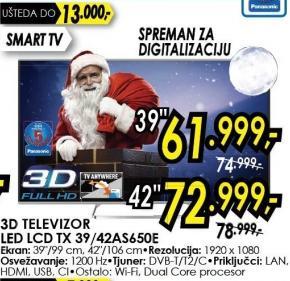 """Televizor LED 39"""" 3D Tx 39as650e"""