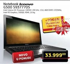 Notebook  Lenovo G500 59377705  + Merkator bon od 1000,00 dinara