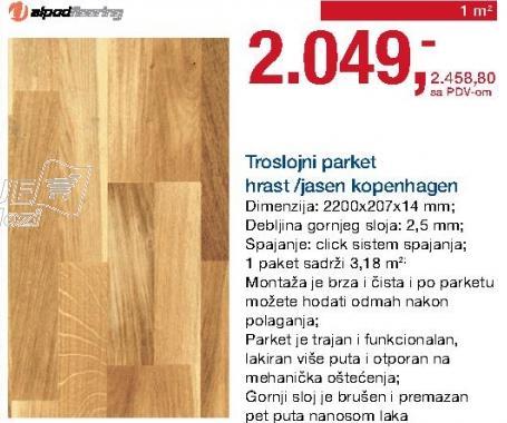 Troslojni parket hrast/jasen Komenhagen Alpod flooring