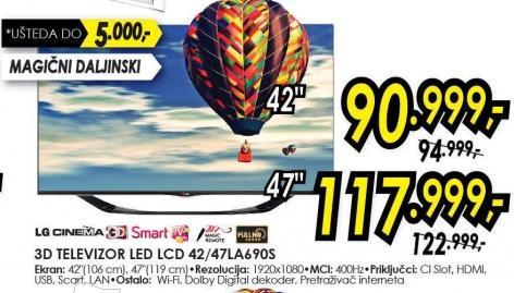 """Televizor LED 42"""" 3D 42LA690s"""